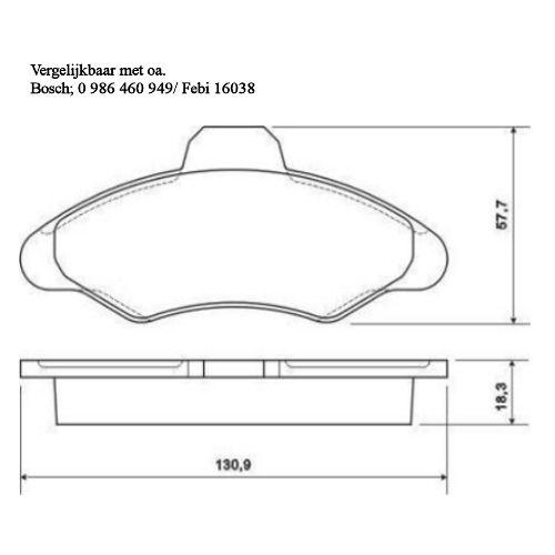 36709 Remblok set Systeem Bosch/Bendix (0986424644)
